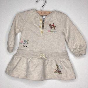 Ralph Lauren LS Oatmeal Embroidery Dress Size 9M